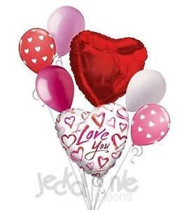 Send a balloon bouquet with red hearts, latex helium balloons and gorgeous Mylar balloons