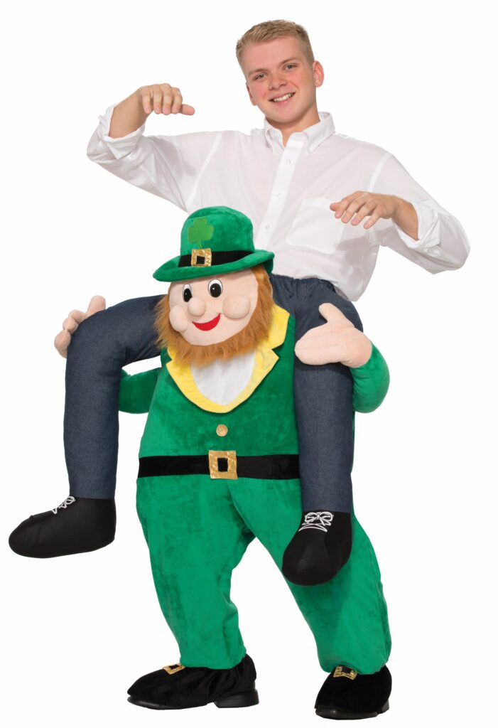$125. Whether you call them Carry Me, Piggy Back or Ride-On costumes, these characters sing and dance as a Singing Telegram. Choose an Irish Beer Wench rides Leprechaun. Call (847) 256-9474 to hire St. Pat's Man on Leprechaun, Piggyback Costume.